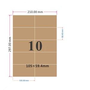 Hoja de caja al por menor Brown autoadhesivo Papel Kraft sello regalo pegatinas En A4 Copia Imprimir etiqueta de papel en forma para el láser de inyección de tinta de la impresora
