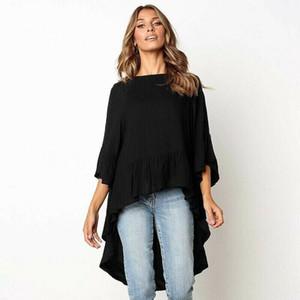 المرأة البلوزات قمصان إمرأة 3/4 كم بلوزة السيدات 2021 ربيع الخريف الصلبة البلوز قميص فضفاض فضفاض عارضة تونك الأعلى البلوز فام