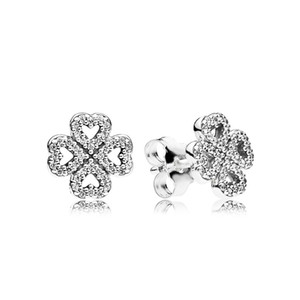 New Authentic Real 925 Sterling Silver Clover Flower Pandora Earrings 290626CZ DIY Jewelrynew