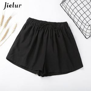 Jielur Summer Elastic High Waist Wide Leg Shorts Women Solid Color Casual Loose Cool Short Korean Drawstring Pantalon Corto CX200605