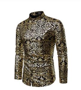 Мужчины хипстер роскошные черное золото бронзирование печатных тонкий с длинным рукавом платье рубашка свадьба ночной клуб хип-хоп партии певица сценические рубашки
