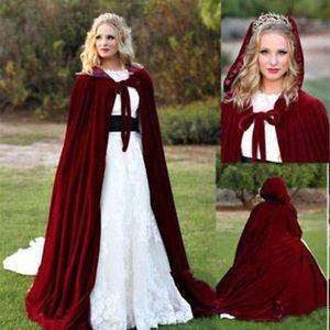2019 Burgundy Velvet Wraps Wedding Bridal Wear Floor Length For Prom Party Evening Jackets Custom Made