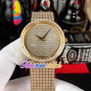 Schmuck Tänzer G0A38021 G0A38020 Schweizer Quarz-Uhr der Frauen Gelbgold Diamant Gepflasterte Dial Diamant-Armband-38/35 / 25mm Timezonewatch E24b2