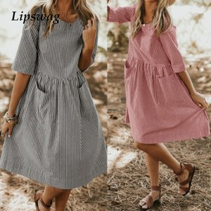 Lipswag Casual O Neck Half Sleeve Party Dress Women 2019 Summer Striped Sundress Elegant Baggy Pockets Femme Dresses Oversized MX19070401