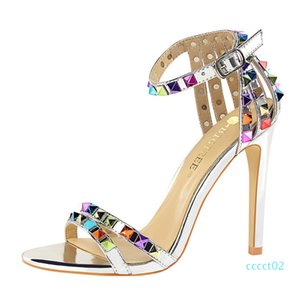 Super High Heels Women Shoes Sexy Studs Colored Riveted Sandals Slippers Candy Open Toes Fashion Female Slides Summer Ladies Ankle Strap ct2