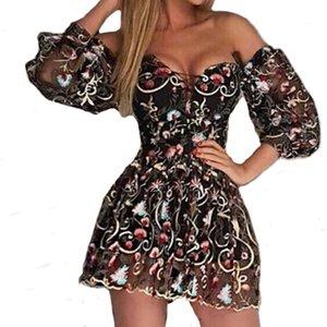 Sexy Schulterfrei Pailletten Sexy Kleid Weibliche Sommer Bling Party Königin Kleider Frauen Langarm Fashion Party Kleid Vestidos