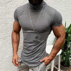 5 couleurs Hommes T-shirts à col roulé à fines rayures T-shirt d'été Europe Amérique Casual hommes manches courtes T-shirt de mode T Fashion