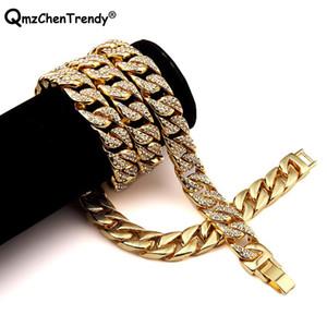 Хип-хоп Шику замороженный вне горный хрусталь Майами кубинский цепи мужчины ожерелье золото серебро Cubra кожа панк-рок мужчин ювелирные изделия соединения
