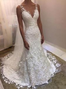 New Elegant Appliqued Lace Mermaid Wedding Dresses 2020 V-neck Zipper Backless Cheap Wedding Bridal Gowns Vestido De Novia