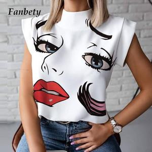 Camicetta Camicie 2020 Estate stand casuale Collo dei pullover delle parti superiori Lips Stampa manica corta Elegante Fashion Eye Blusa delle signore delle donne di cotone
