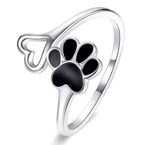 Cute dog claw s925 sterling silver ring female opening fashion cross-plated platinum sterling silver ring SCR584