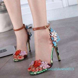 Sıcak Satış-Çok güzel çiçek ayak bileği kayışı tasarımcı slaytlar sandalet kadın yüksek topuk elbise ayakkabı lüks yüksek topuklu Boyut 35 13c 40 To