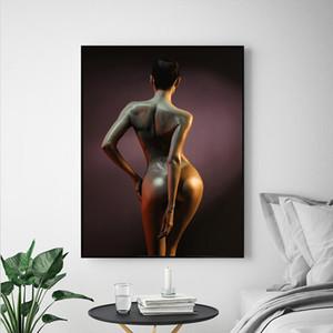 Lámina Pintura Cartel Pinturas murales nórdico minimalista bastante atractiva de la mujer del hombro A4 moderna de la lona Inicio decoración de la pared