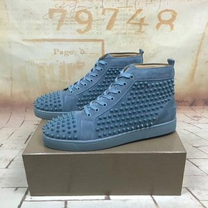 New Arrival mens womens black matter leather with black spikes high top sneakers,designer men causal sports shoes Drop shipping 0505033