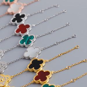 Bracciale in argento sterling con marchio S925 in argento sterling con quadrifoglio in agata nera per donna Bracciale in argento con fiore in oro rosa