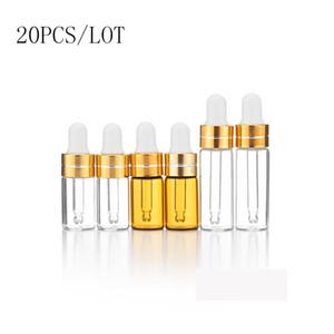 20pcs / lot 3ml 5ml Mini Empty Esstenial Oils Contanatore di contagocce Bottiglie di vetro In Riutilizzabile Mini Ambra Siero Fiale Con Piette