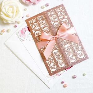 Lindo Rose Gold Glitter Laser Cut Cartões de convite com fitas para o chá de panela Wedding Engagement partido de graduação de aniversário