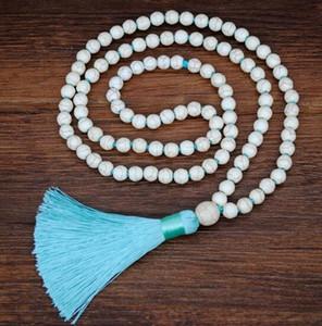 Nuevo estilo bohemio turquesa blanco turquesa azul turquesa 4 colores cadena de suéter con flecos de seda de algodón collar largo