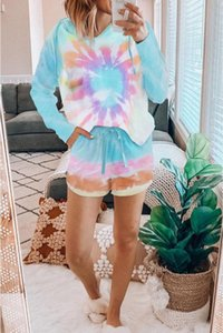 Бесплатно для пижамы Tiedye для женщин Crew Neck Tie Dye Pajama Коротких наборы Набор Tie Dye Пижама Пижама Tiedye Цветочных печатей Bwkf