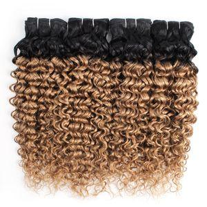 Cabelo Curly brasileira Ombre Mel loira Water Wave Cabelo Pacotes Cor 1B / 27 10-24 polegadas 3/4 Pieces 100% Remy Extensões de cabelo humano