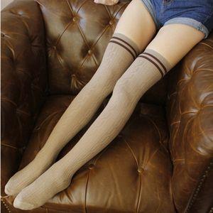 2019 New Fashion Striped Cotton Mulheres macio sobre Knee Stocking Extra longo do Boot Knit Coxa alta Quente