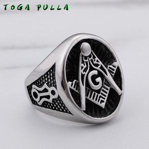 Color Plata Titanium de la manera religiosa masonería masónico de la vendimia anillo de los hombres del anillo del acero inoxidable masculino del punk rock de la joyería 2020