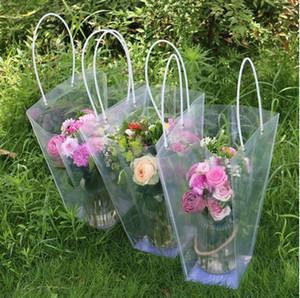 Bolsa de regalo transparente trapezoidal Bolso de almacenamiento de plástico Bolsas de flores de PVC Tienda Bolsas de embalaje Bolsas de flores para fiestas GGA2565