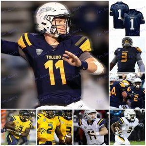 Пользовательский Toledo 2020 College Football Любого Номер Название Navy Blue Gold Желтой Белая 3 Карима Hunt Diontae Джонсон Мужчина молодежь Kid NCAA Джерси