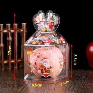 PVC Natal Candy Caixa Transparente Gift Box Decoração Embalagem aleatória Estilo Papai Noel Boneco Elk rena Doce Caixas de Apple HH9-A2555