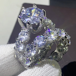 2020 New Arrival Unique Vintage Jewelry 925 Sterling Silver Couple Rings Round Cut White Topaz CZ Diamond Women Wedding Bridal Ring Set Gift