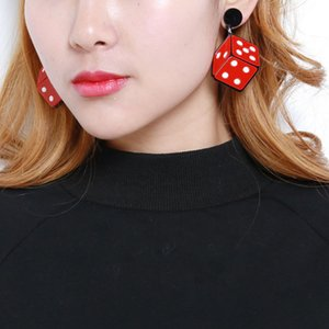 Harajuku Style Exaggerated Dice Red Acrylic Earrings Trendy Wild Dot Dangle Earrings for Women Fashion Party Jewelry Girl Gift Drop Shipping