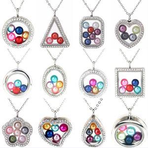 Collane del pendente Locket fai da te Argento cuore rotondo ciondoli galleggianti in vetro magnetico vetro 50cm Collana