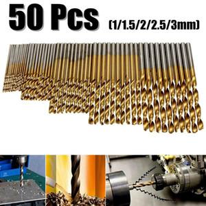 뜨거운 판매 50PCS 티타늄 코팅 드릴 비트 HSS 고속 철강 비트 설정 도구 고품질의 전동 공구 1 / 1.5 / 2 / 2.5 / 3mm 드릴