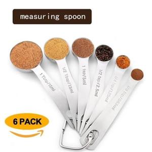 L'acciaio inossidabile di misurazione circolare cucchiaio 6 tuta scala cottura misurino condimento cottura cucchiaio T9I0020