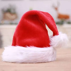 High-grade Christmas Hat Adult Christmas Party Cap Red Plush Hat For Santa Claus Costume Christmas Decoration gift with free shipping