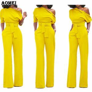 Donna Tuta Una Spalla Con Tasche Tasche Officewear Pagliaccetto Combinaison Tute Moda Femminile Per Eleganti Vestiti Lady Y19060501
