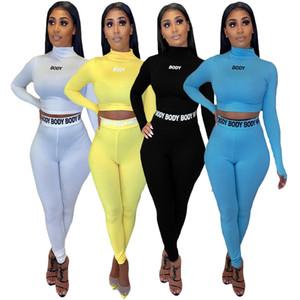Hohe elastische Brief Frauen Set 2 Stück Laufen Sport Anzug Crop Top Schlank Yoga Strumpfhosen Jogging Leggings Set Gym Fitness Anzug