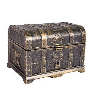 pirate treasure box children's treaed antique plastic large treasure box toys Children's role-playing props, game props