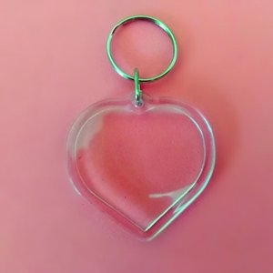 50 Pcs Heart Shaped DIY Acrílico Picture Frame em branco Chaveiro branco transparente Inserir Foto Chaveiros Pingente Anel chave de Jóias e Acessórios
