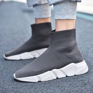 New mens womens sneakers fashion Quality Knit Socks shoes speed trainer High Race Runners Black white Slip-on triple s Casual Shoes