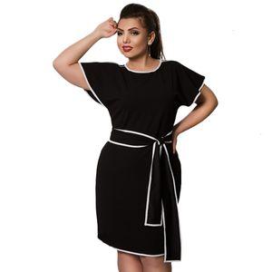Ropa para mujer de las señoras vestidos de tamaño 4XL 5Xl 6XL mujeres elegantes Volantes sólidos Oficina sólido del verano vestido grande grande Ropa Vestidos