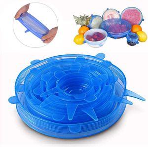Silicone extensible Couvercles silicone alimentaire universel Wrap bol Pot couvercle Couvercle en silicone Pan de cuisson Accessoires de cuisine Fresh Food Cover 1Régler = 6pcs