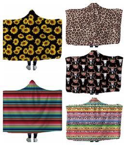 Sunflower Hooded Blanket 3D-Druck Kinderdecken Kinder wickeln weiche, warme Sherpa Fleece Throw Sofa Decke Bett Flugzeug 15 YYSY26
