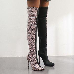 Змея Цвет Бедро-High Boots Дамы Заостренные Большой размер 34-43 Женские сапоги на высоком каблуке 11см серпантина римские сапоги обувь для девочек 162-2