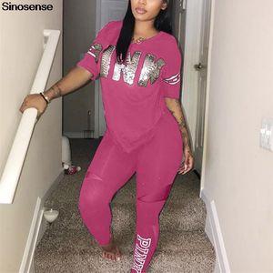 Frauen Fitness Sporting Zwei Stücke Set 2019 T-Shirt + lange Hosen beiläufige Buchstabe-Druck Pink 2 Stück Outfits Plus Size Rosa Kleidung