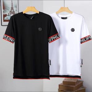 2019 Outono Men T Shirt da Forma dos homens de Manga Curta t-shirt Roupas Casuais Crânio Carta impressão Hip Hop Masculino Tops Tee # 1823
