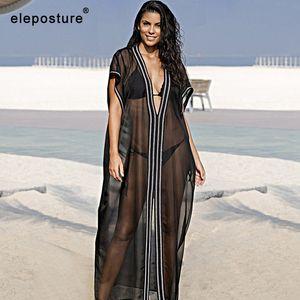 2020 Sexy Embroidered Beach Cover Up Chiffon Beach Dress Long Tunics Bikini Swimwear Women Cover Up Loose Robes Sunscreen Blouse