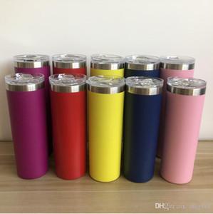 İnce renk saman ile 30 oz 20 oz sıska mandal yalıtılmış mandal bardak toz kaplı çift çeper, vakum su şişesi