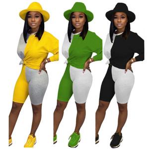 Tmustobe Sonbahar Patchwork İki Adet Set Kadınlar Uzun Kollu Tops Ve Şort Suits Casual Eşofman Eşleştirme Seti Kıyafetler Kadın