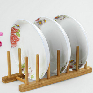 New Creative Bamboo Plate Drain Rack Pot Lid Dish Bowl Cup Display Holder Book Storage Shelf Kitchen Organizer